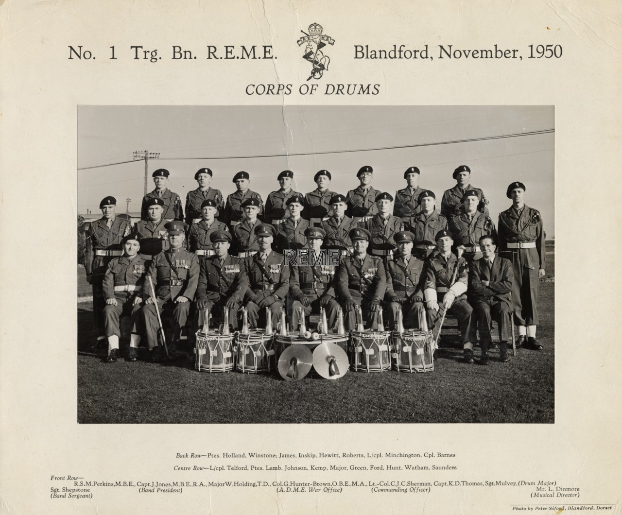 No 1 Training Battalion REME, Corps of Drums, Blandford