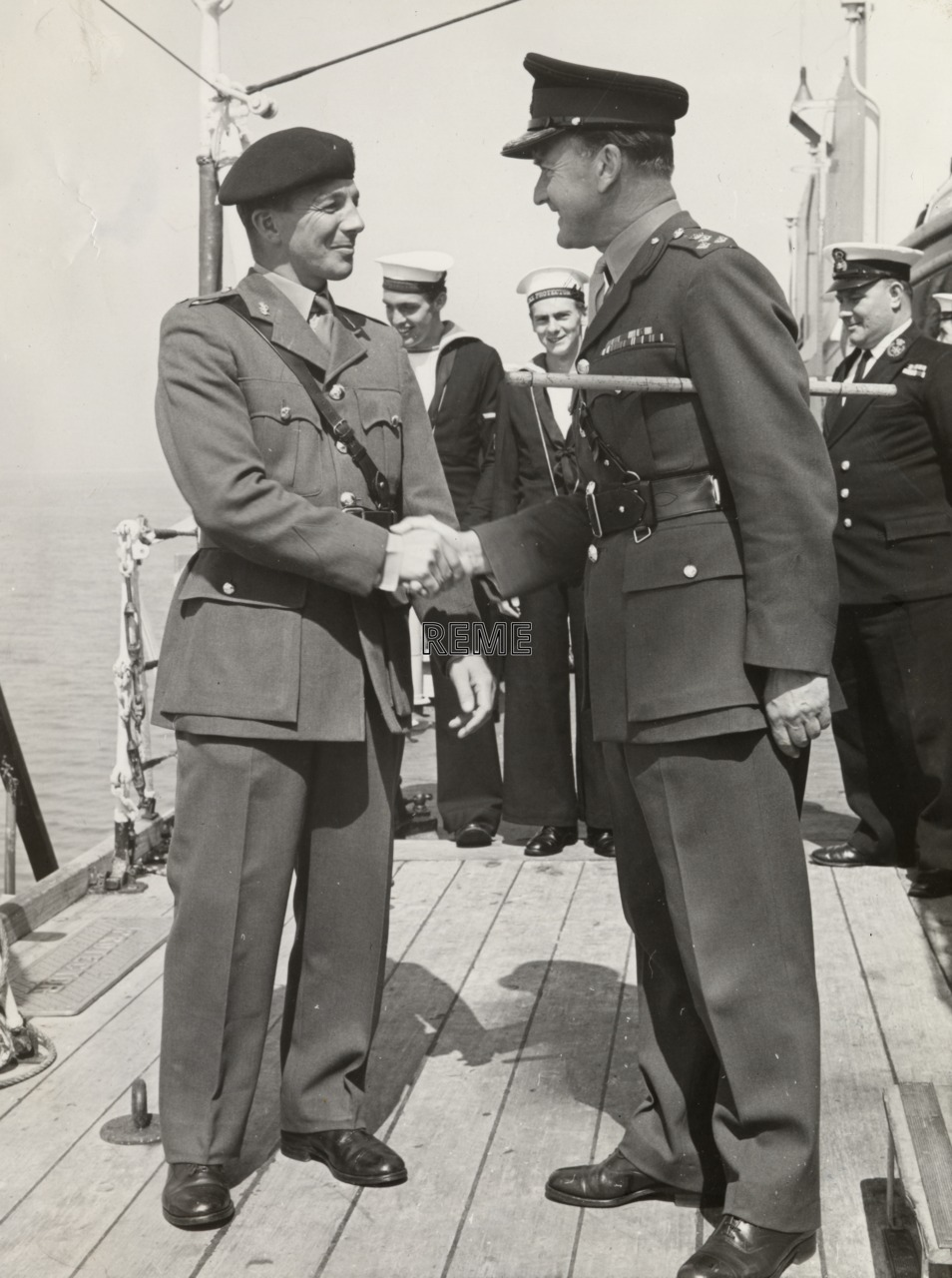 Major J Peacock and Brigadier R T Barr, HMS Protector