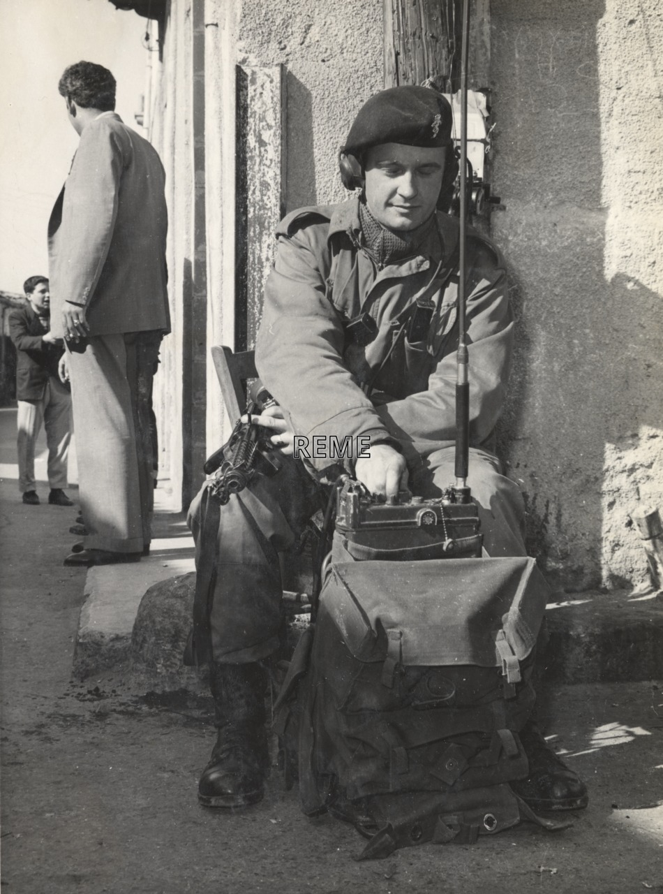 Corporal R Brown REME (United Nations Force), with radio, Nicosia, Cyprus