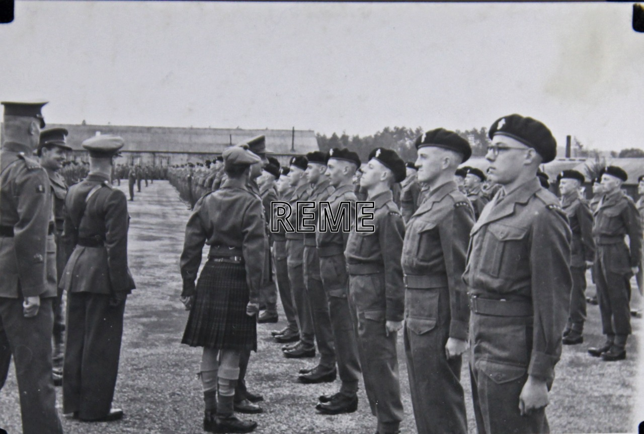 No 1 Training Battalion REME: Major General S W Joslin, Director of Mechanical Engineering (DME), inspecting the Corps 8th Birthday Parade.