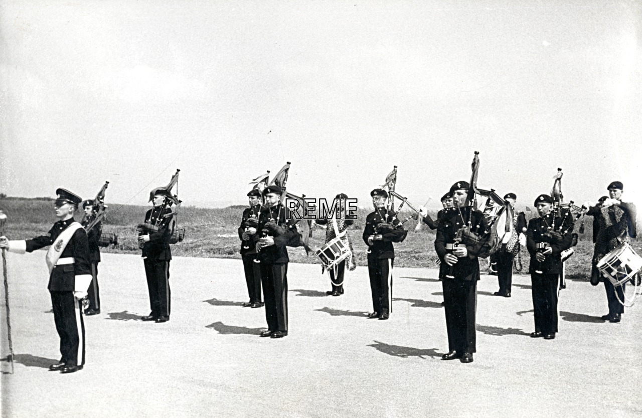 The combined Pipe and Drum Bands of 15 Training Battalion RASC and No 1 Training Battalion, REME.