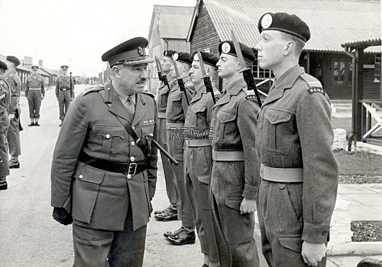 No 1 Training Battalion, REME: Inspection by Brigadier G Laing, Deputy Commander South Western District.