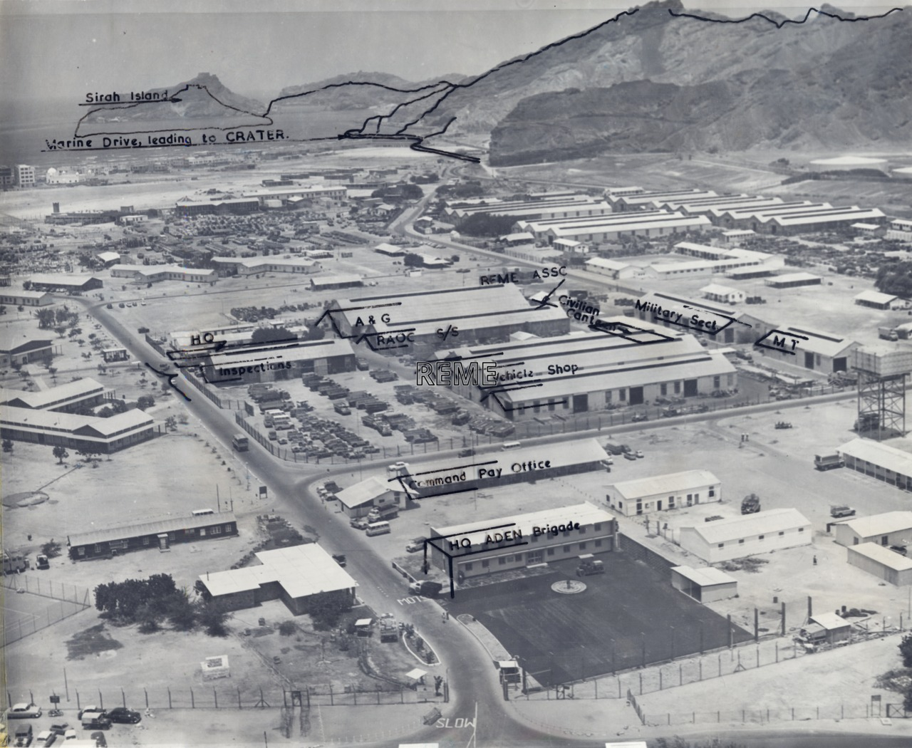 52 Command Workshop REME, Aden: aerial photograph of the site