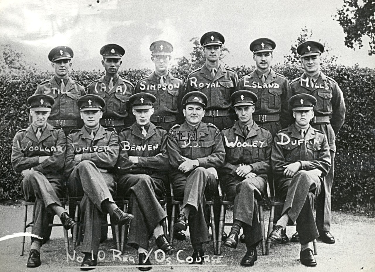 No 10 Regular Young Officers' Course, REME Officers' School, 1952 – 1953