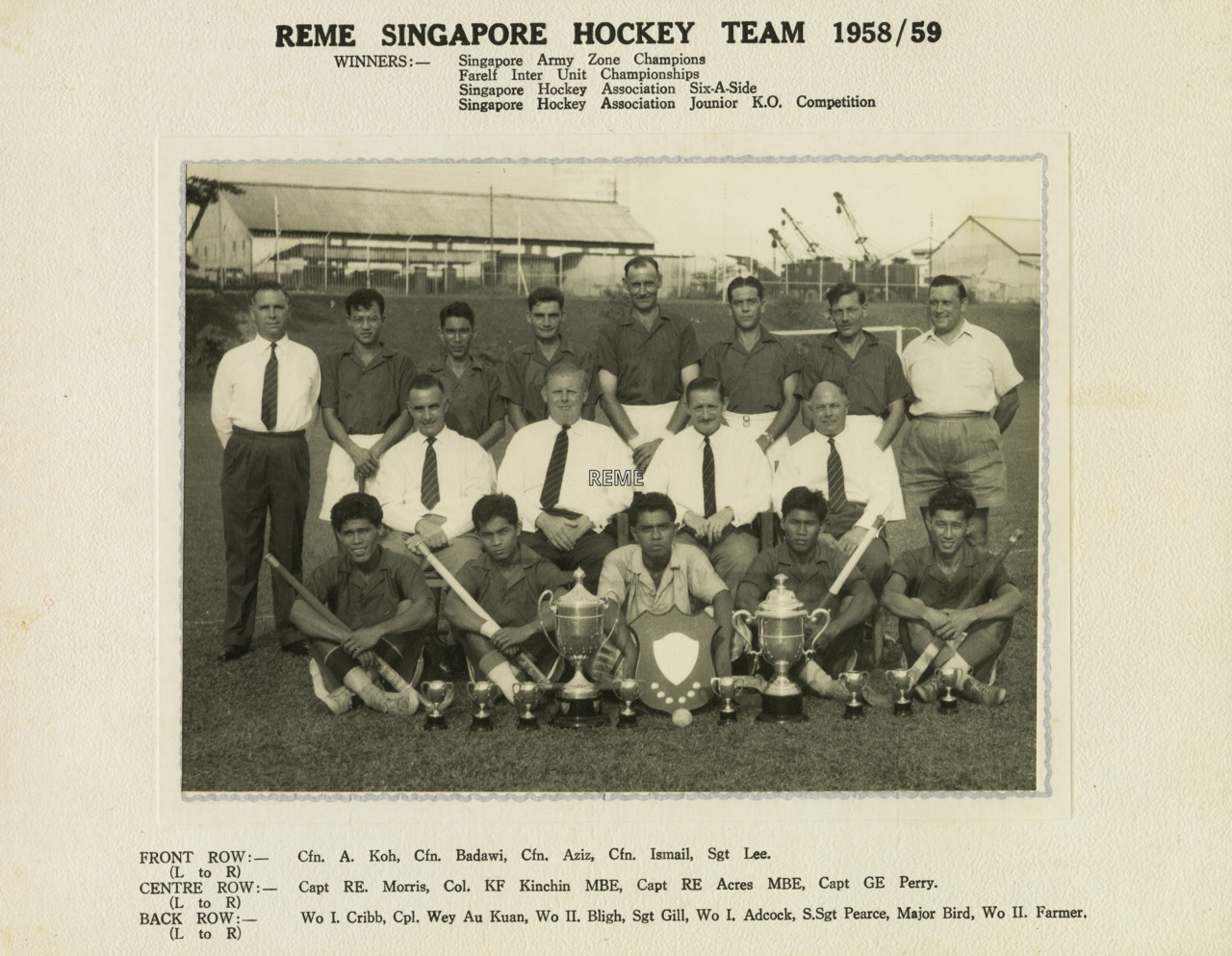 REME Singapore hockey team, 1958/1959