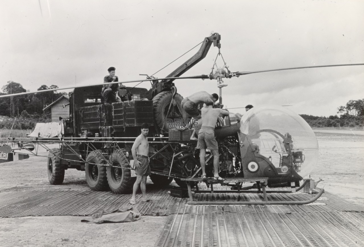 Scammell Explorer Recovery Vehicle and Sioux Helicopter