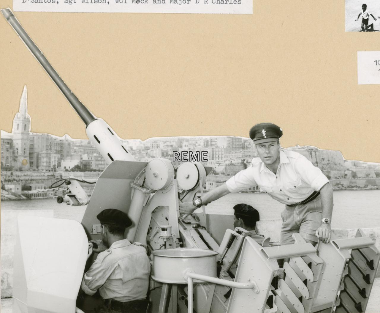 Artificer Sergeant Major (ASM) Hay checking 40/70 Anti-Aircraft (AA) equipment, Malta, January 1969.
