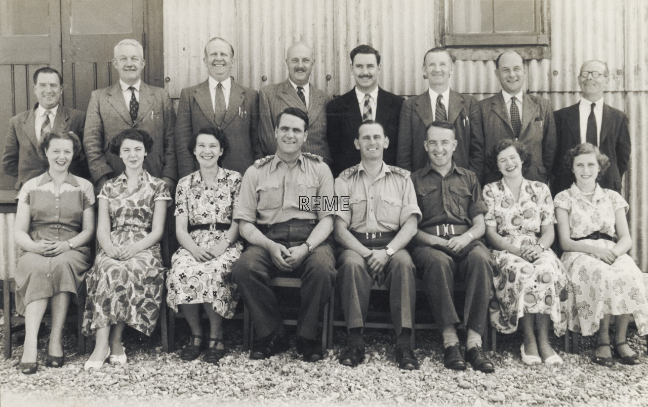 Officers and civilians at Anti-Aircraft Command School, Lydd, Kent.