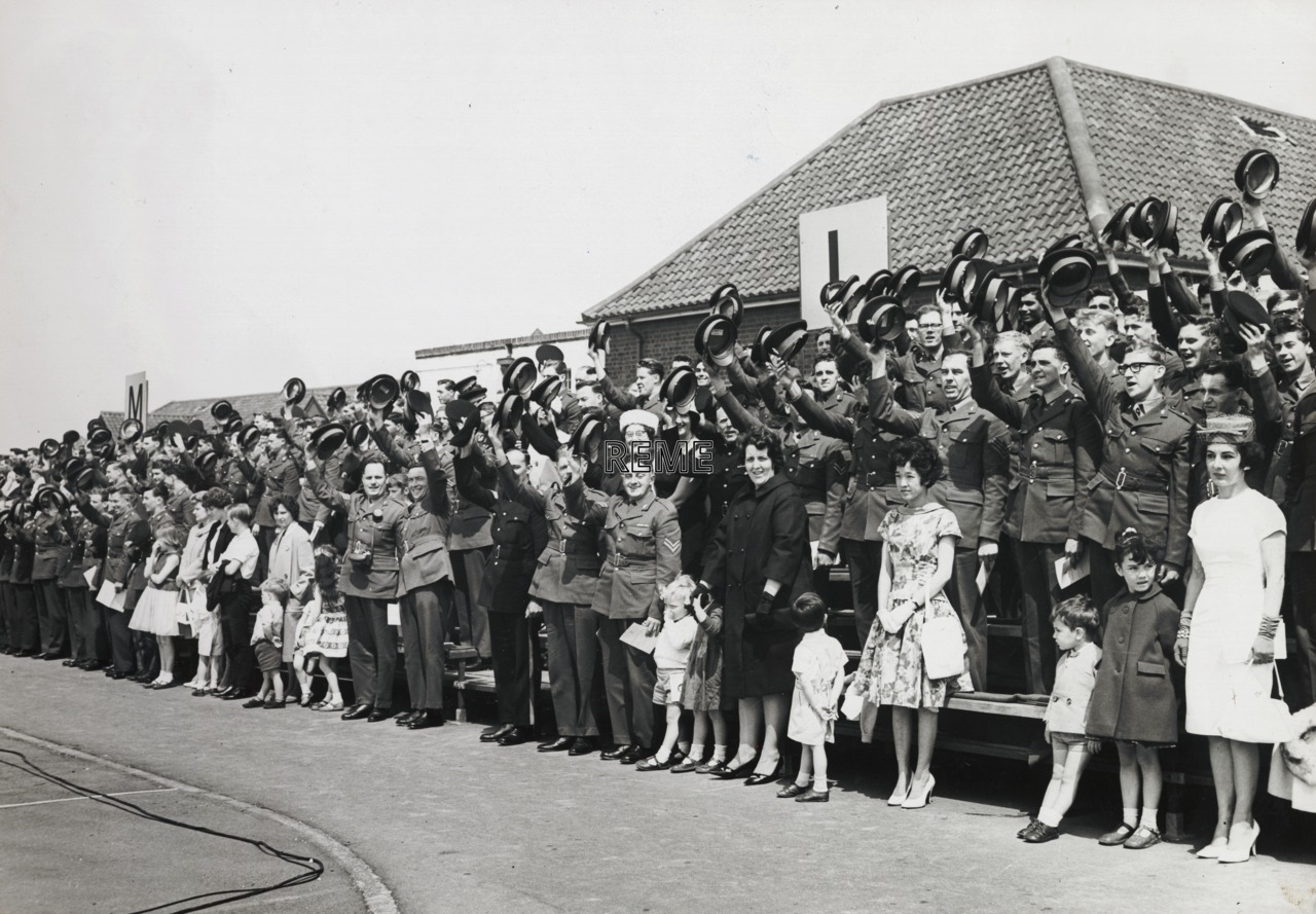 First visit of Her Royal Highness Princess Marina, Duchess of Kent, Colonel in Chief of the Corps to Arborfield, 1964.