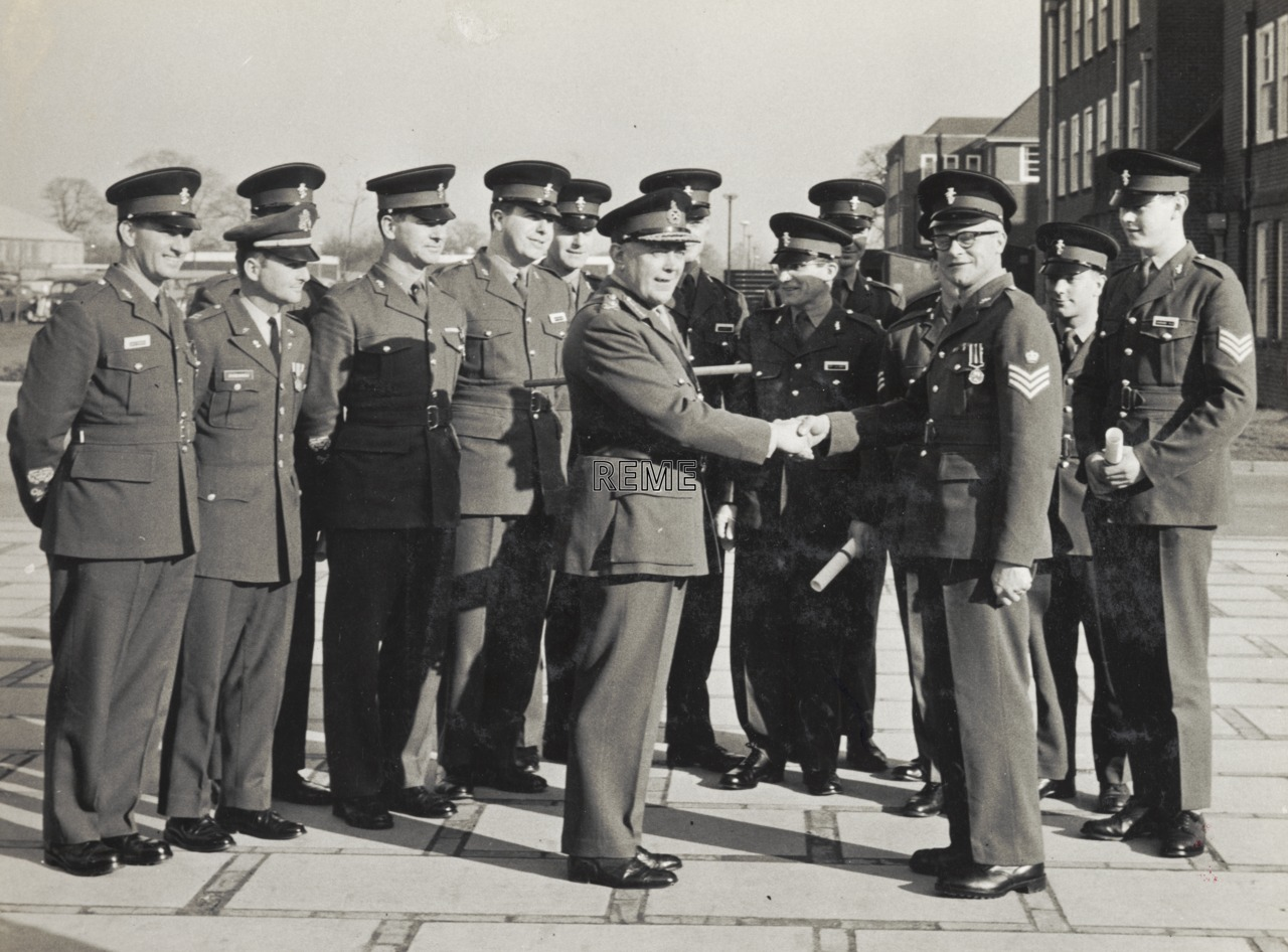 Presentation of awards to Warrant Officers and NCOs by the Director of Electrical and Mechanical Engineering (DEME), Arborfield, 1968.