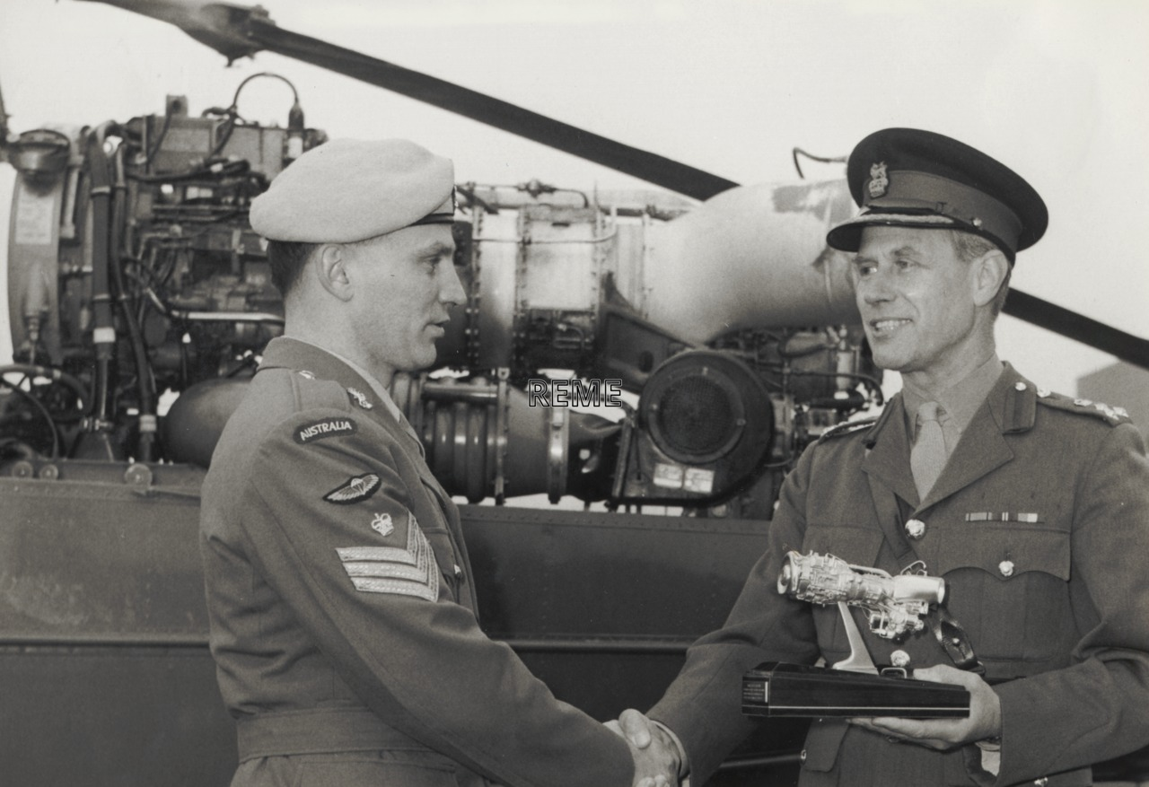 Staff Sergeant John Ryan, Royal Australian Electrical and Mechanical Engineers (RAEME) receiving the Rolls Royce Trophy at AETW REME, Middle Wallop, January 1970.