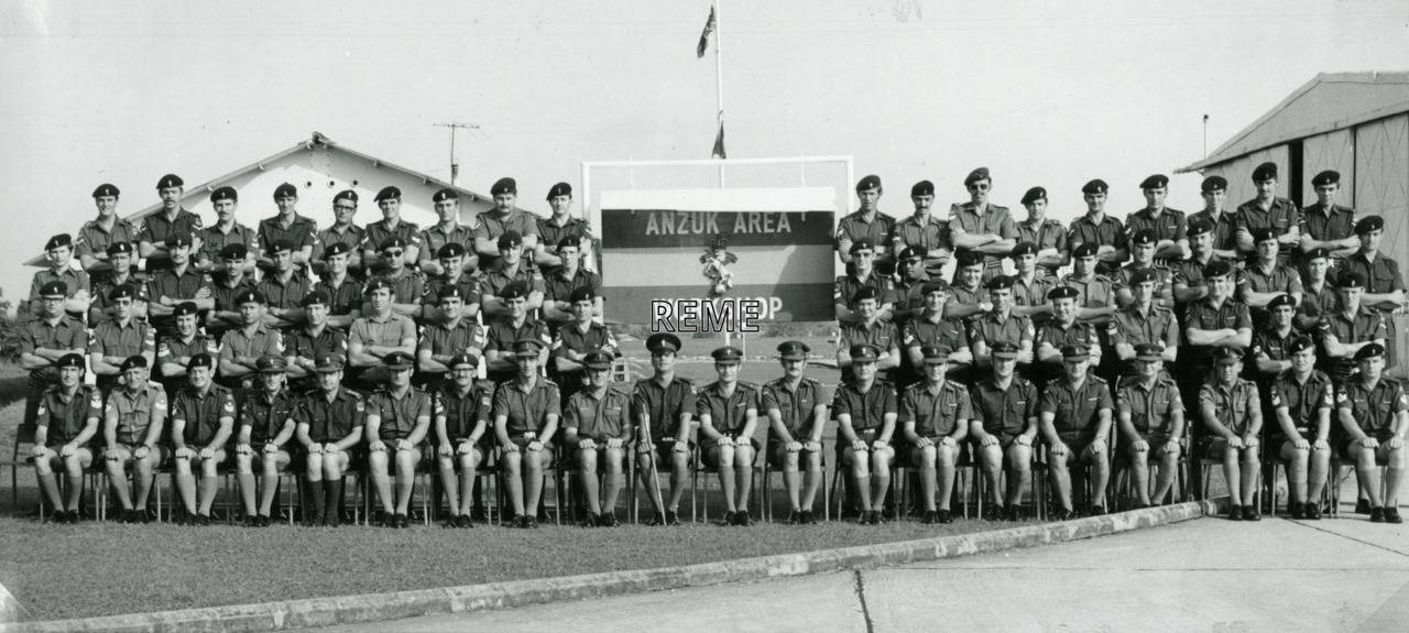 Officers and men of Australia, New Zealand, and United Kingdom (ANZUK) Area Workshop, Singapore.