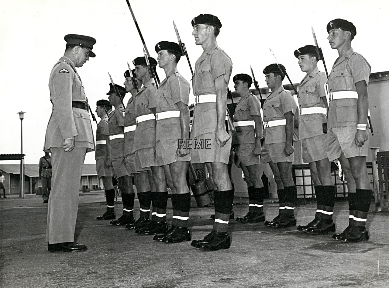 Visit of Brigadier MF Scott, Inspector of REME, to 52 Command Workshop REME, Aden, 9 January 1963