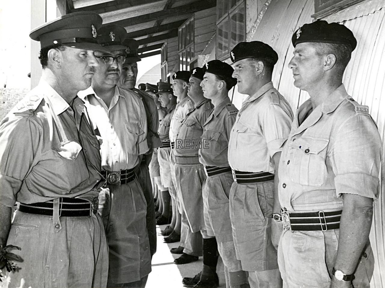 Visit of Brigadier MF Scott, Inspector of REME, to 9 Infantry Workshop REME, Cyprus